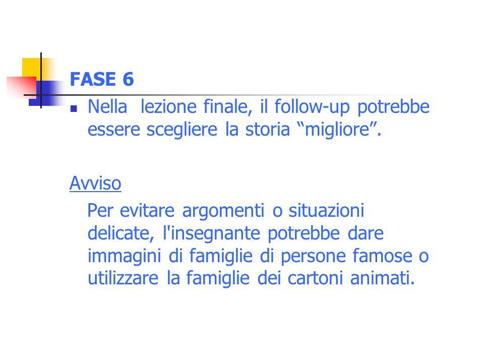 FASE 6 Nella lezione finale, il follow-up potrebbe essere scegliere la storia migliore . Avviso.