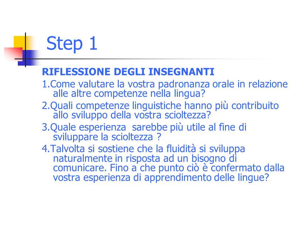 Step 1 RIFLESSIONE DEGLI INSEGNANTI