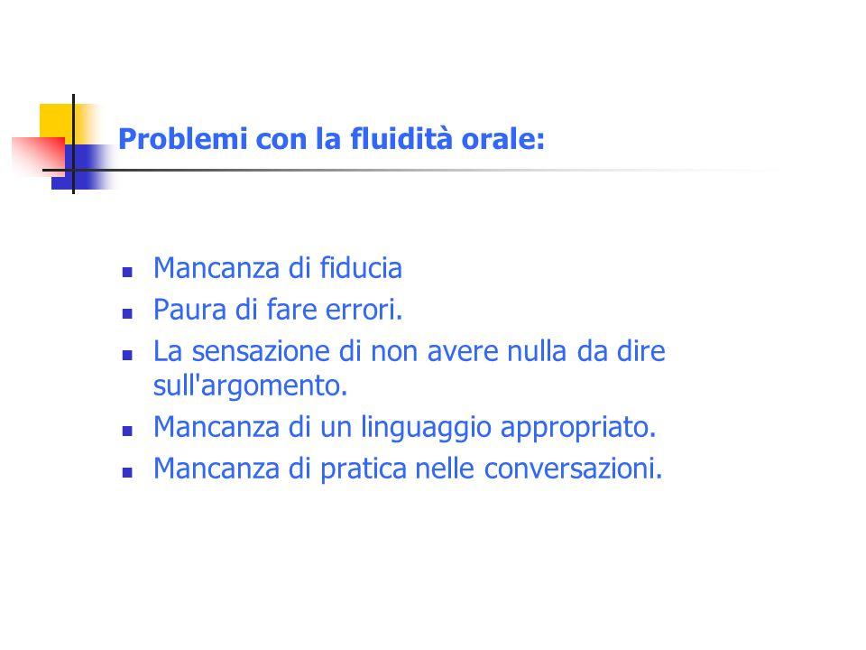 Problemi con la fluidità orale: