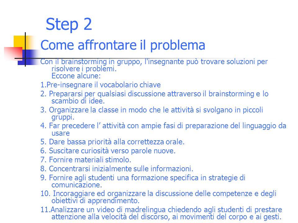 Step 2 Come affrontare il problema