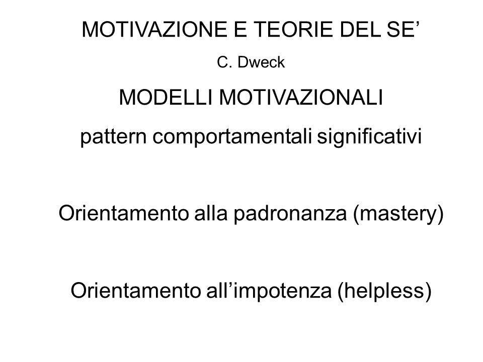 MOTIVAZIONE E TEORIE DEL SE' MODELLI MOTIVAZIONALI