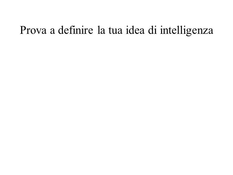 Prova a definire la tua idea di intelligenza