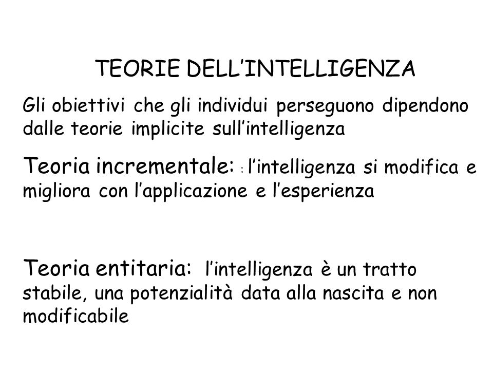 TEORIE DELL'INTELLIGENZA