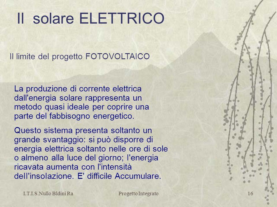 Il solare ELETTRICO Il limite del progetto FOTOVOLTAICO