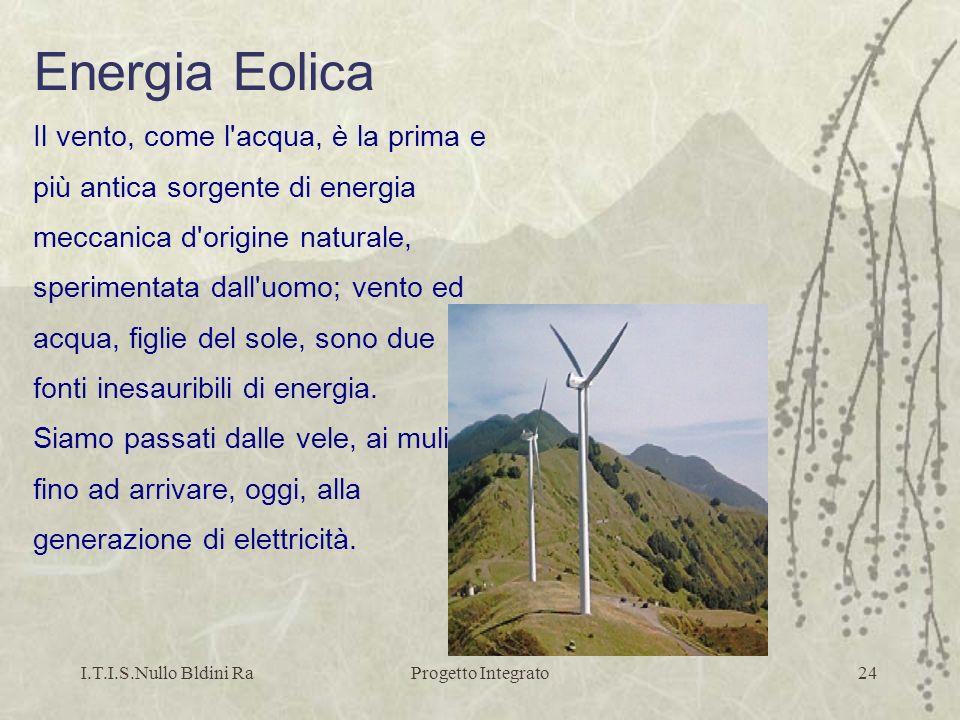 Energia Eolica Il vento, come l acqua, è la prima e
