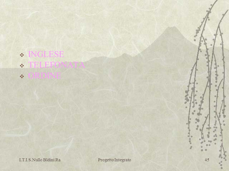 INGLESE TELEFONATA ORDINE I.T.I.S.Nullo Bldini Ra Progetto Integrato