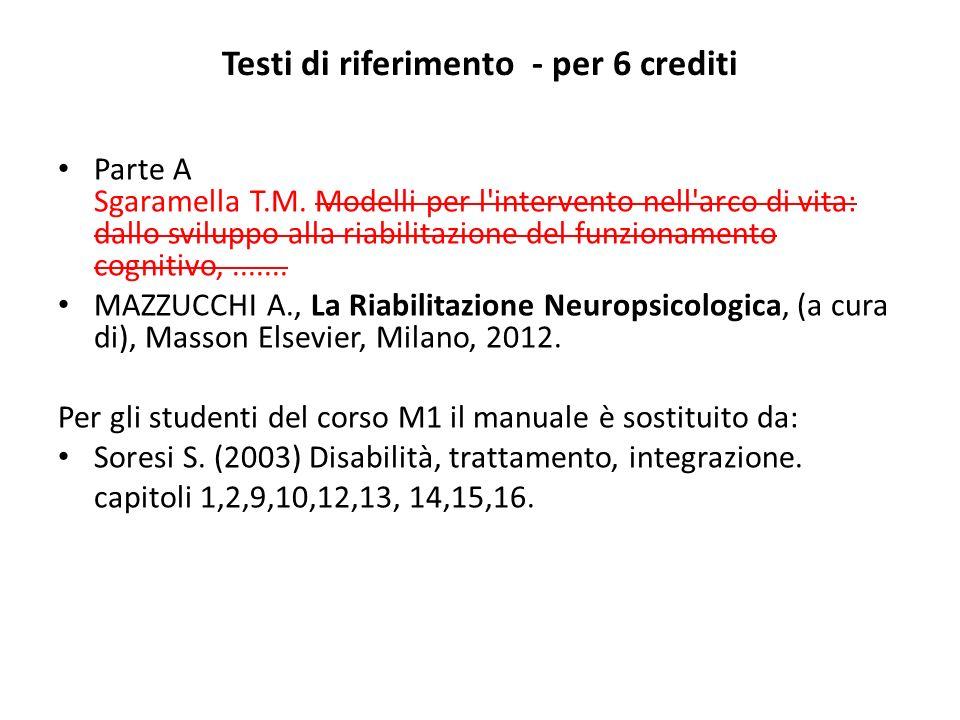 Testi di riferimento - per 6 crediti