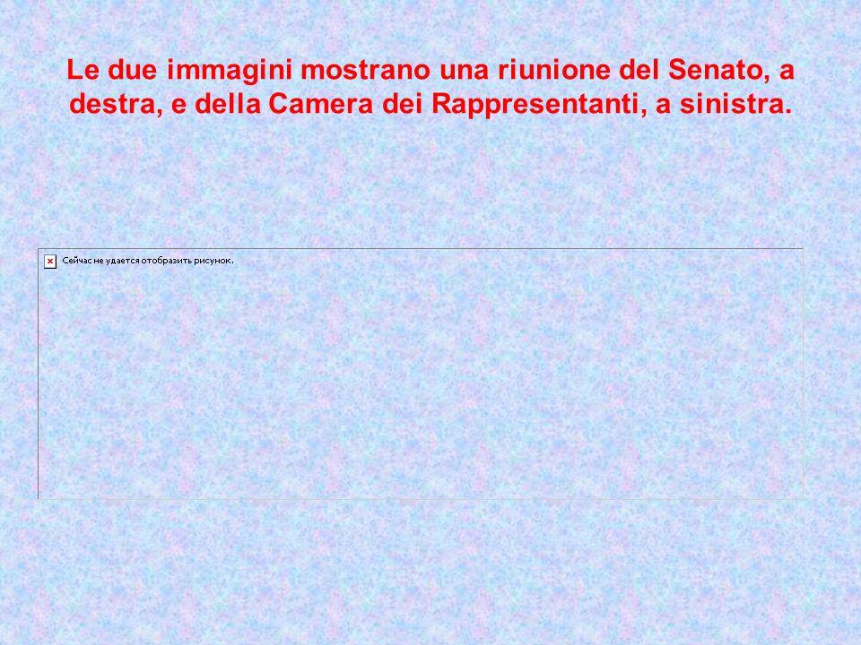 Le due immagini mostrano una riunione del Senato, a destra, e della Camera dei Rappresentanti, a sinistra.