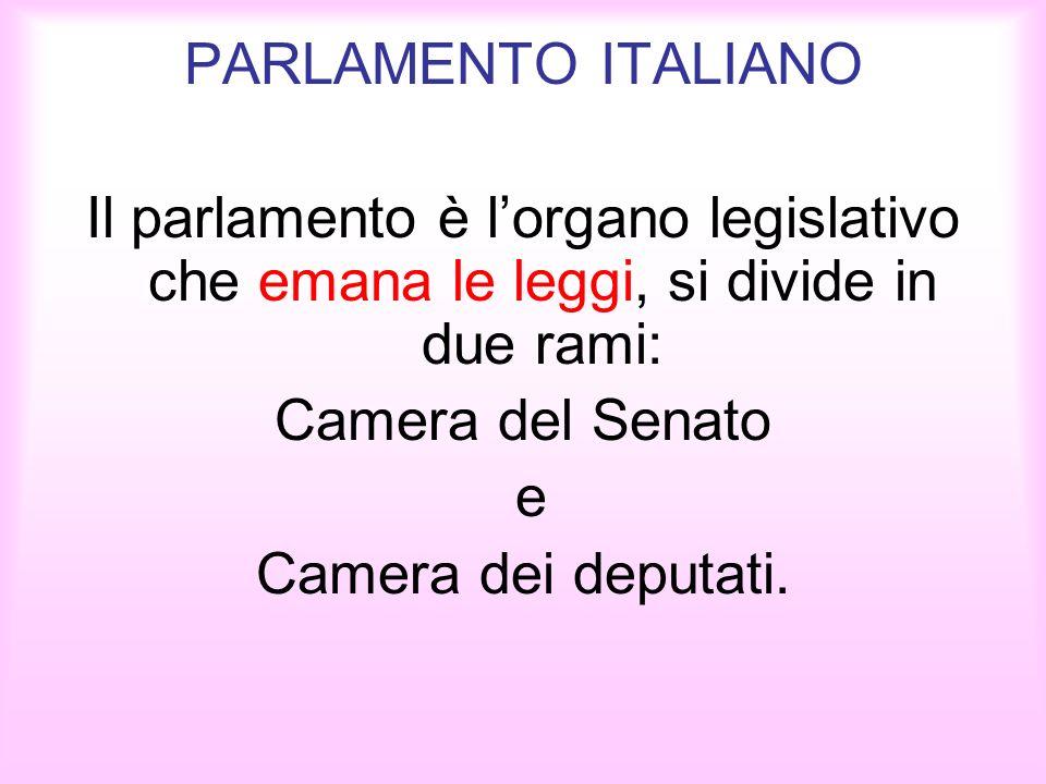 PARLAMENTO ITALIANO Il parlamento è l'organo legislativo che emana le leggi, si divide in due rami: