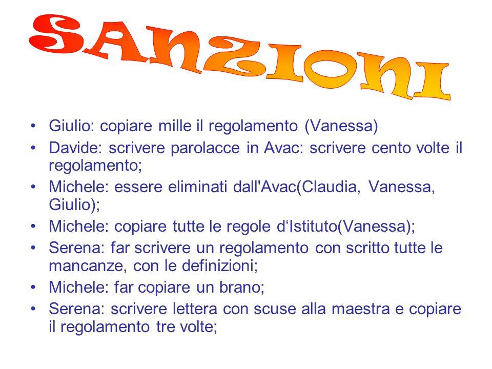 SANZIONI Giulio: copiare mille il regolamento (Vanessa)