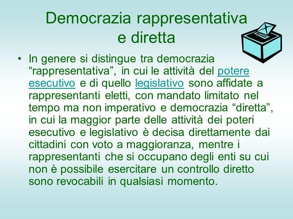 Democrazia rappresentativa e diretta