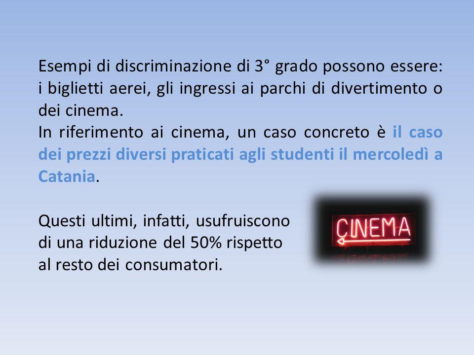 Esempi di discriminazione di 3° grado possono essere: i biglietti aerei, gli ingressi ai parchi di divertimento o dei cinema.