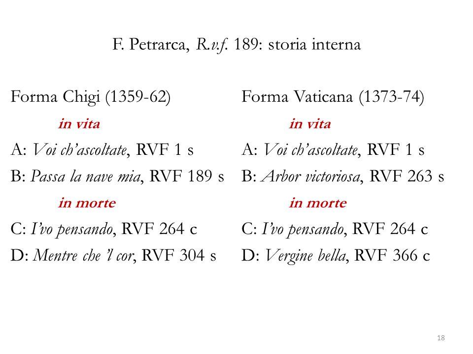 F. Petrarca, R.v.f. 189: storia interna