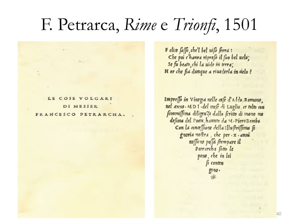 F. Petrarca, Rime e Trionfi, 1501