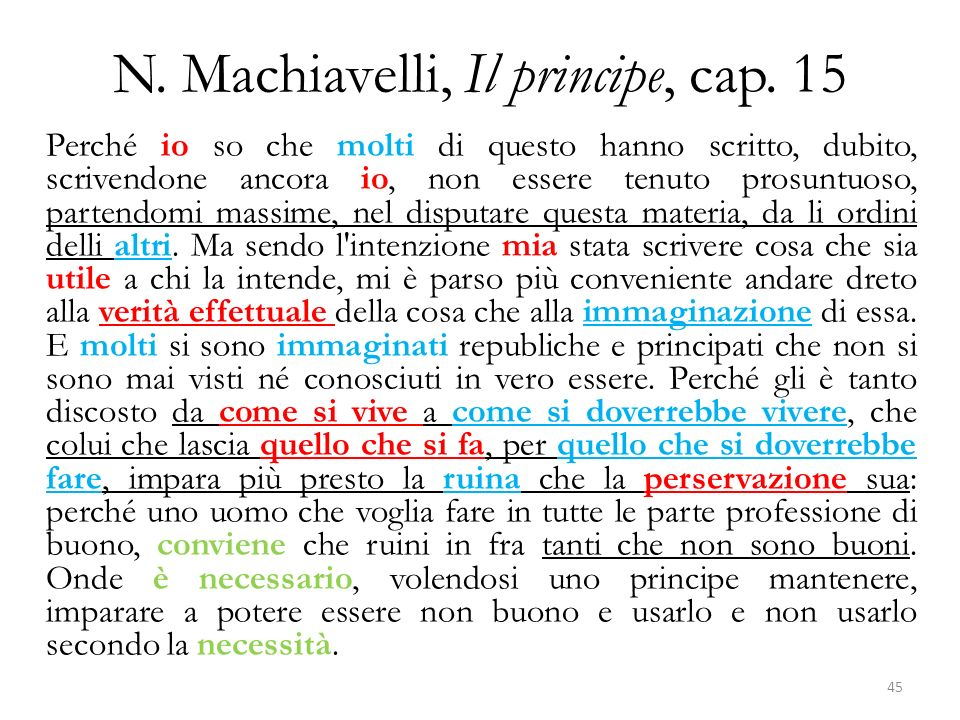 N. Machiavelli, Il principe, cap. 15