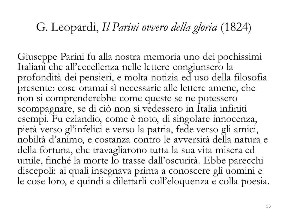 G. Leopardi, Il Parini ovvero della gloria (1824)