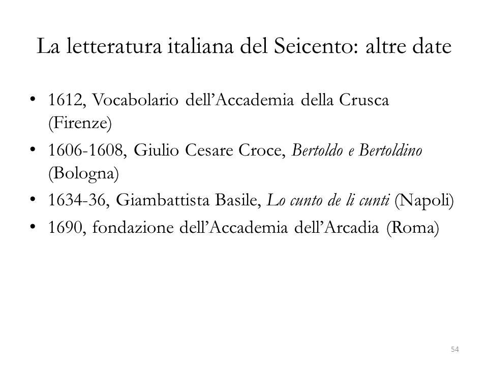 La letteratura italiana del Seicento: altre date
