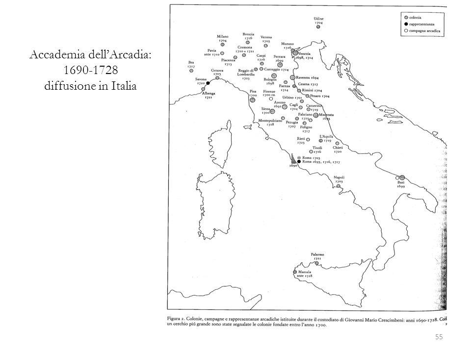 Accademia dell'Arcadia: 1690-1728 diffusione in Italia