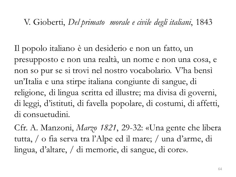 V. Gioberti, Del primato morale e civile degli italiani, 1843