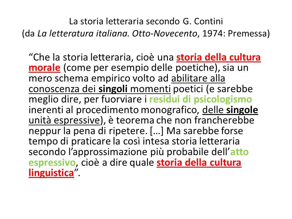La storia letteraria secondo G. Contini (da La letteratura italiana