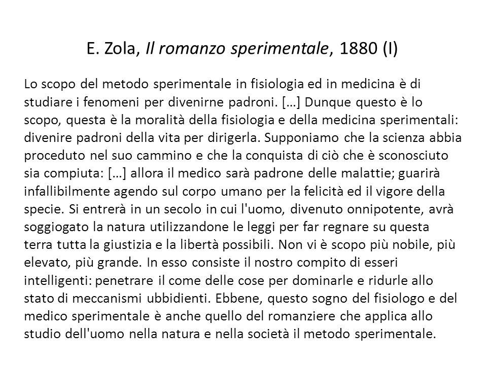 E. Zola, Il romanzo sperimentale, 1880 (I)
