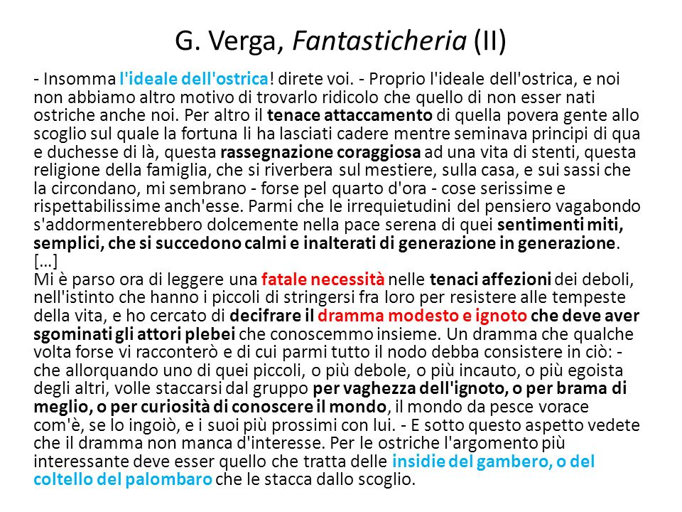 G. Verga, Fantasticheria (II)