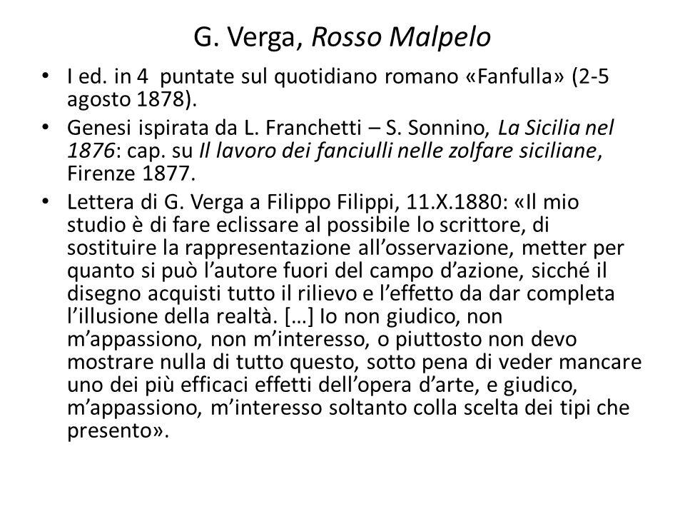 G. Verga, Rosso MalpeloI ed. in 4 puntate sul quotidiano romano «Fanfulla» (2-5 agosto 1878).