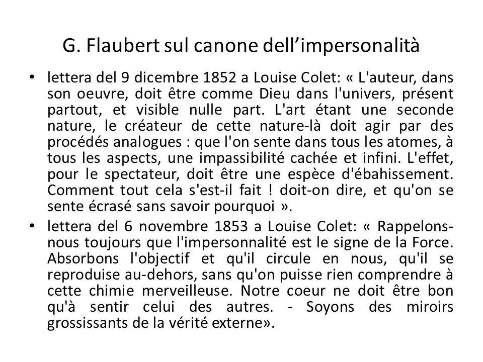 G. Flaubert sul canone dell'impersonalità