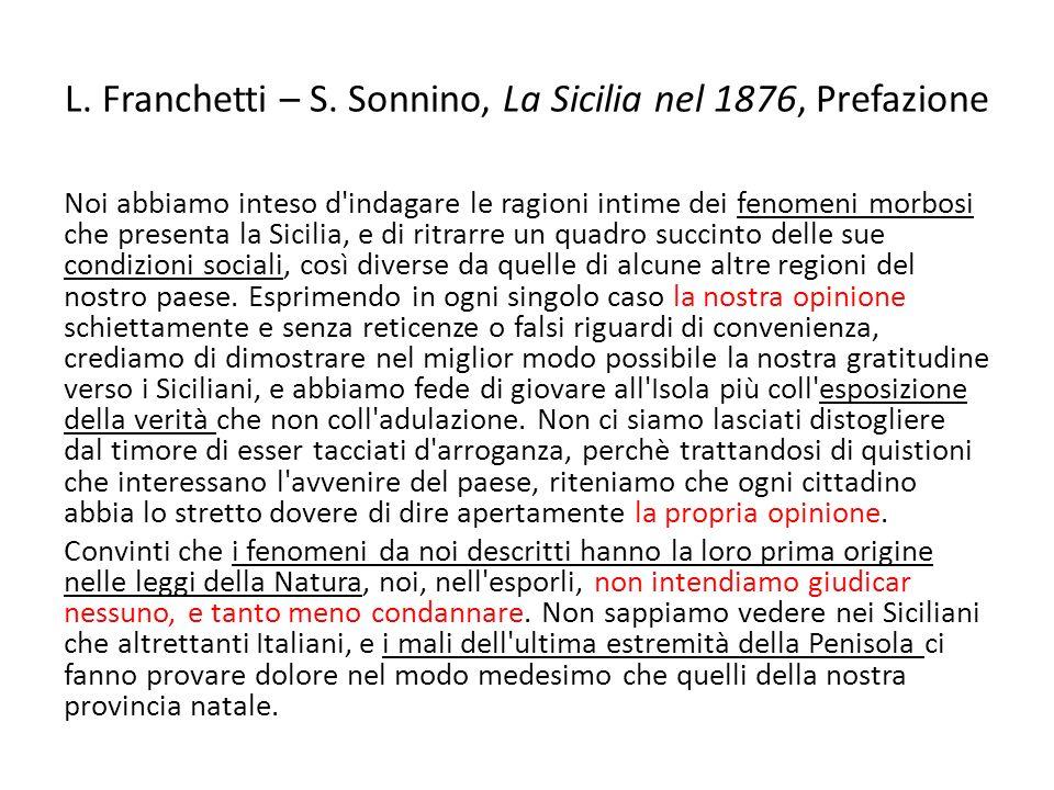 L. Franchetti – S. Sonnino, La Sicilia nel 1876, Prefazione