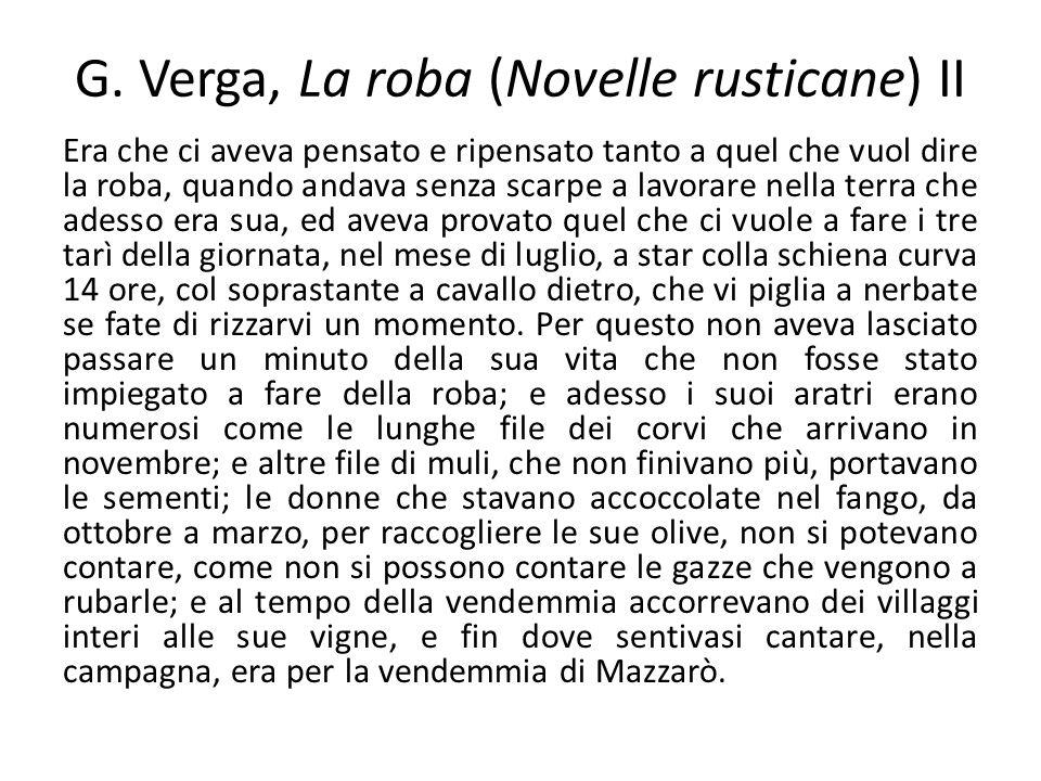 G. Verga, La roba (Novelle rusticane) II