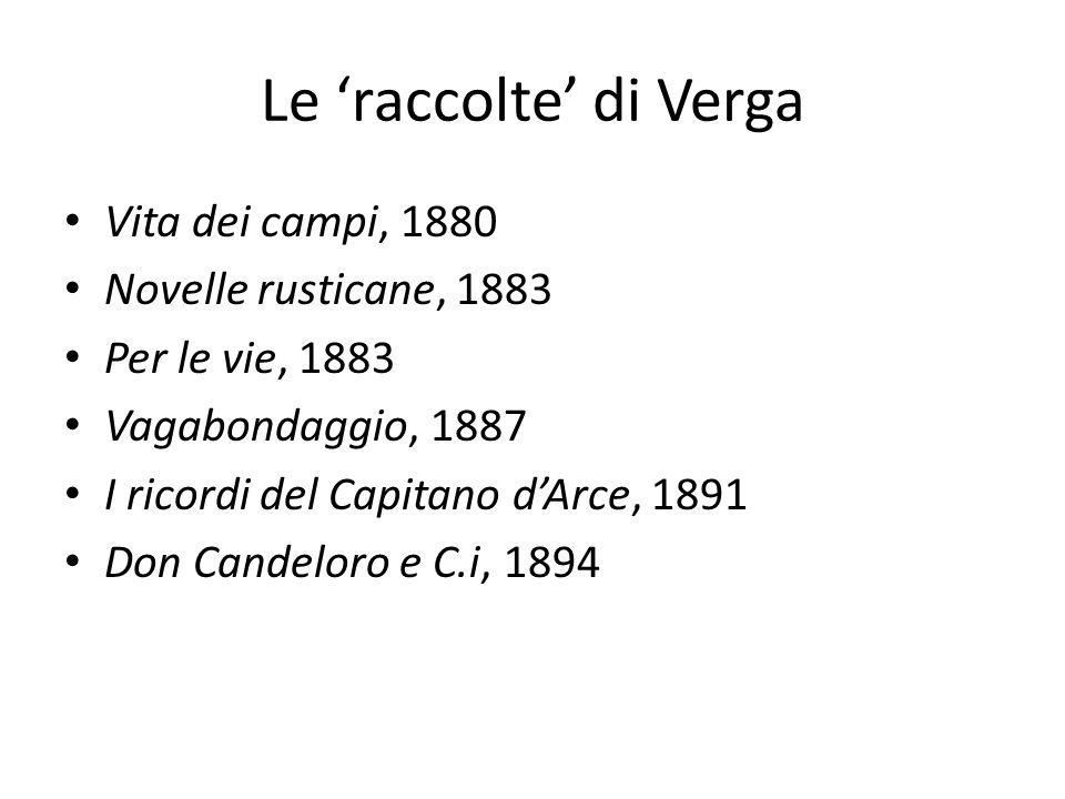 Le 'raccolte' di Verga Vita dei campi, 1880 Novelle rusticane, 1883