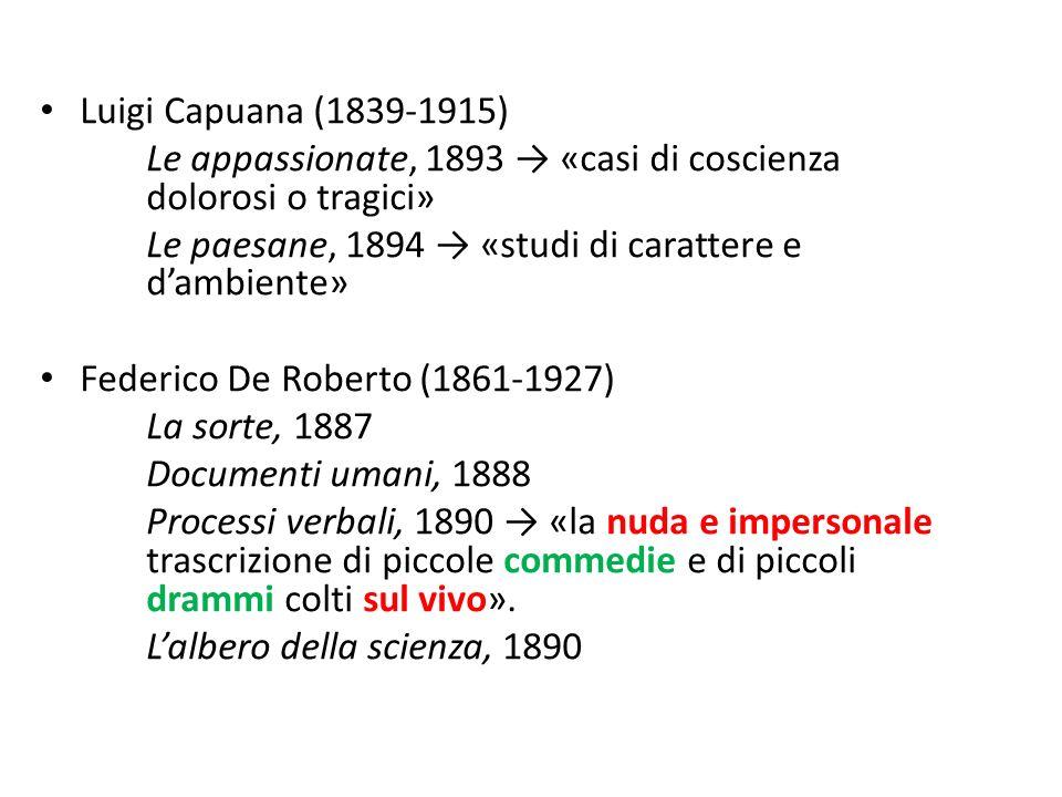 Luigi Capuana (1839-1915) Le appassionate, 1893 → «casi di coscienza dolorosi o tragici» Le paesane, 1894 → «studi di carattere e d'ambiente»