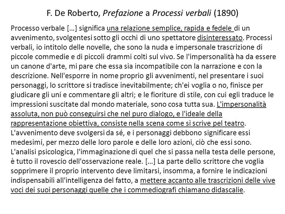 F. De Roberto, Prefazione a Processi verbali (1890)