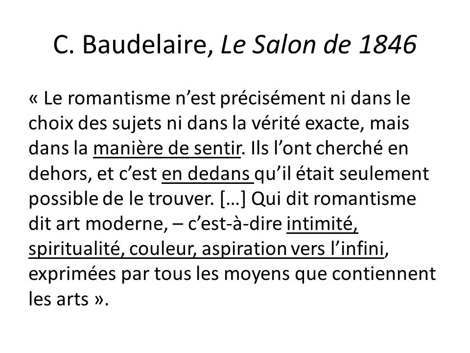 C. Baudelaire, Le Salon de 1846