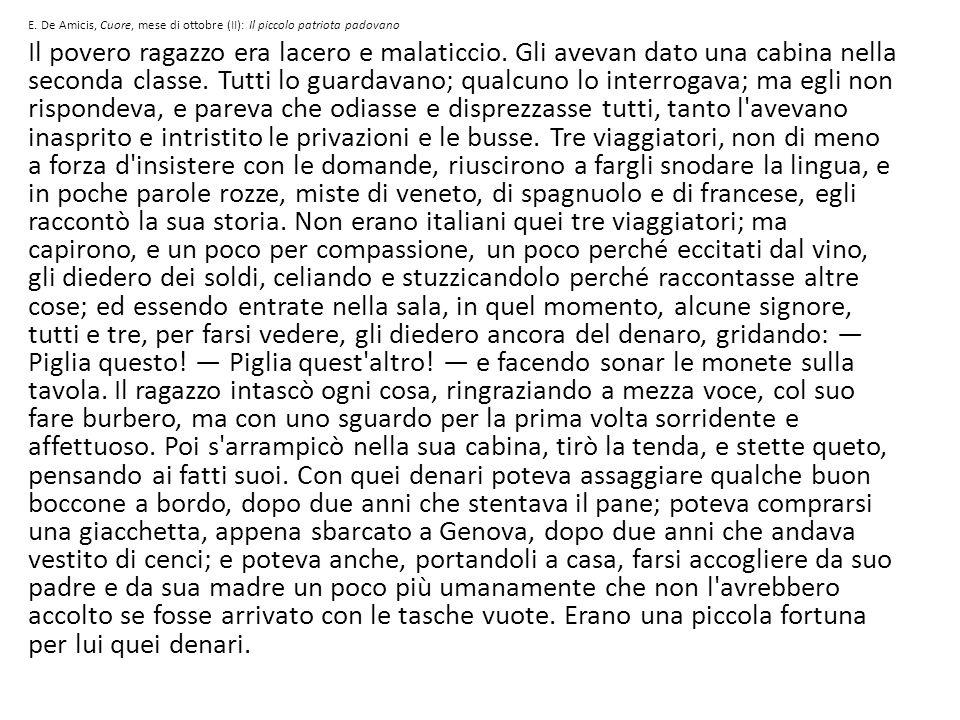 E. De Amicis, Cuore, mese di ottobre (II): Il piccolo patriota padovano