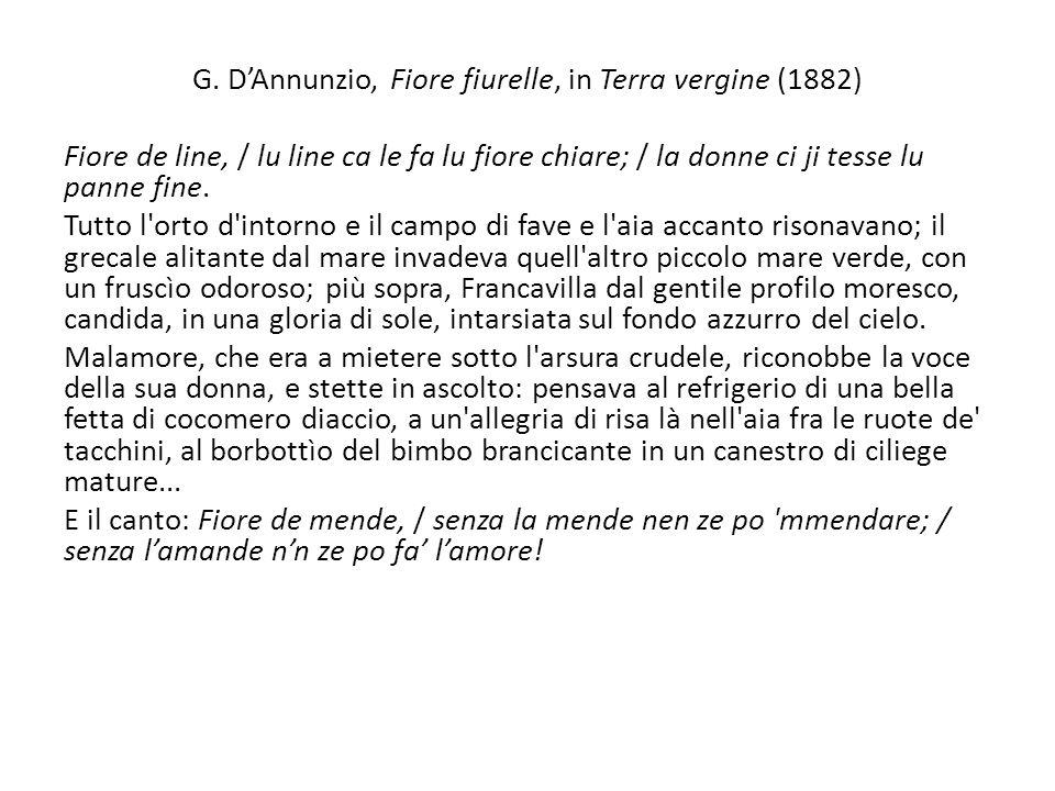 G. D'Annunzio, Fiore fiurelle, in Terra vergine (1882)