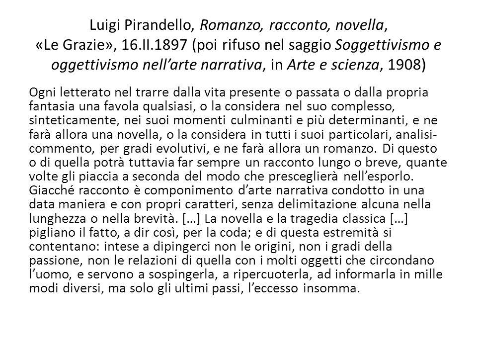 Luigi Pirandello, Romanzo, racconto, novella, «Le Grazie», 16. II