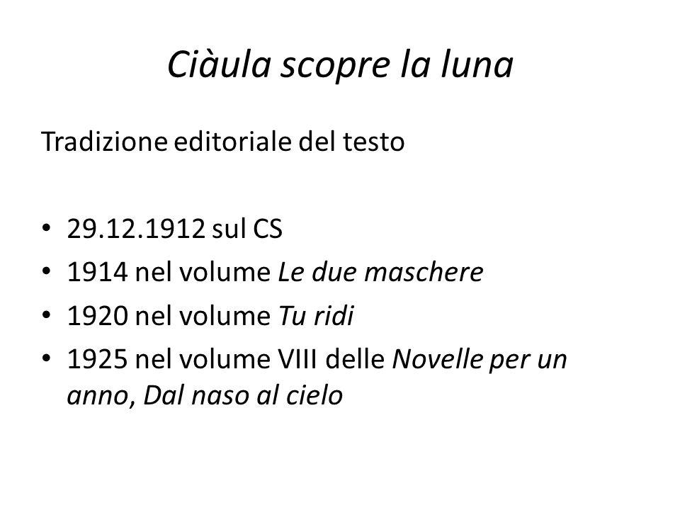 Ciàula scopre la luna Tradizione editoriale del testo