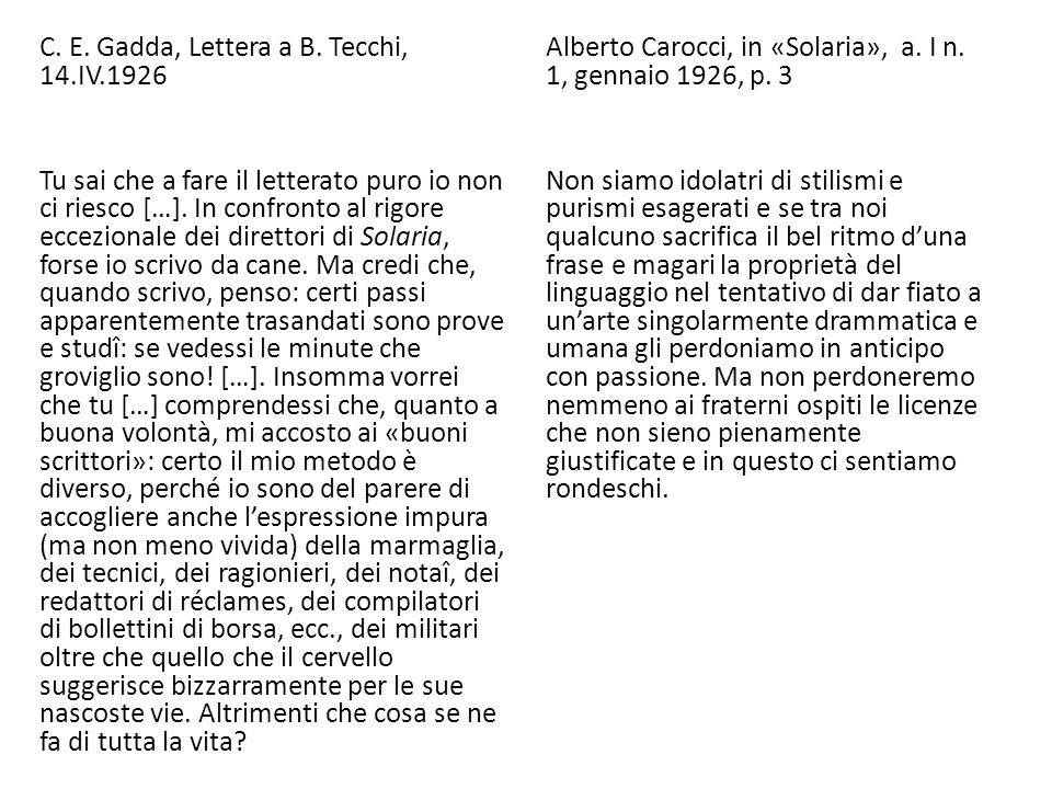 C. E. Gadda, Lettera a B. Tecchi, 14. IV