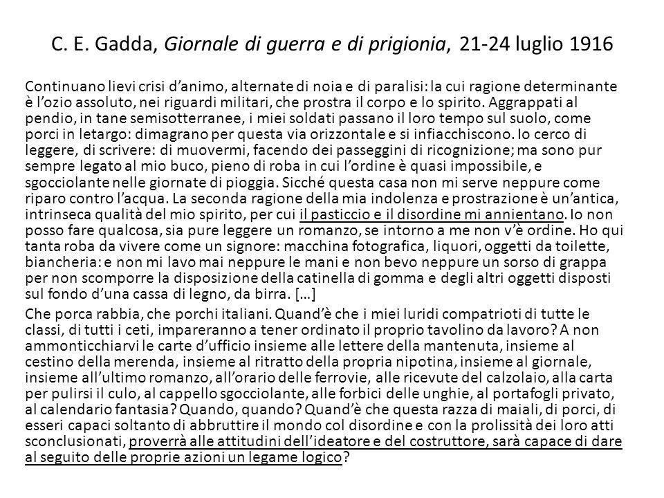 C. E. Gadda, Giornale di guerra e di prigionia, 21-24 luglio 1916