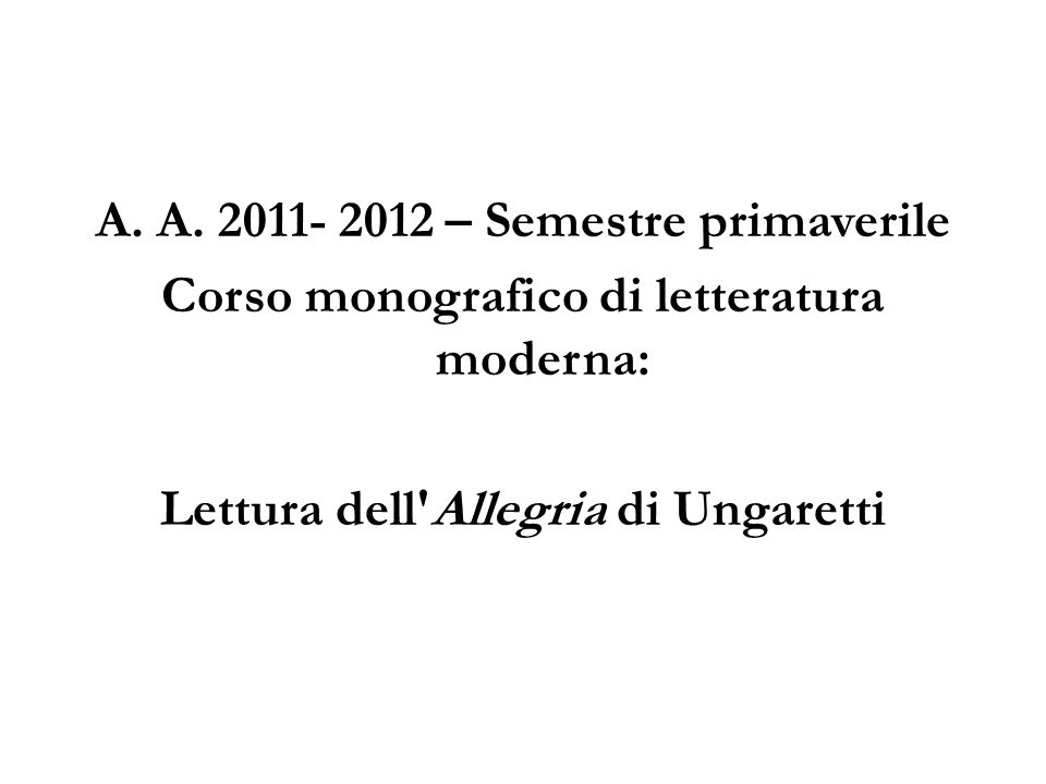 Corso monografico di letteratura moderna: