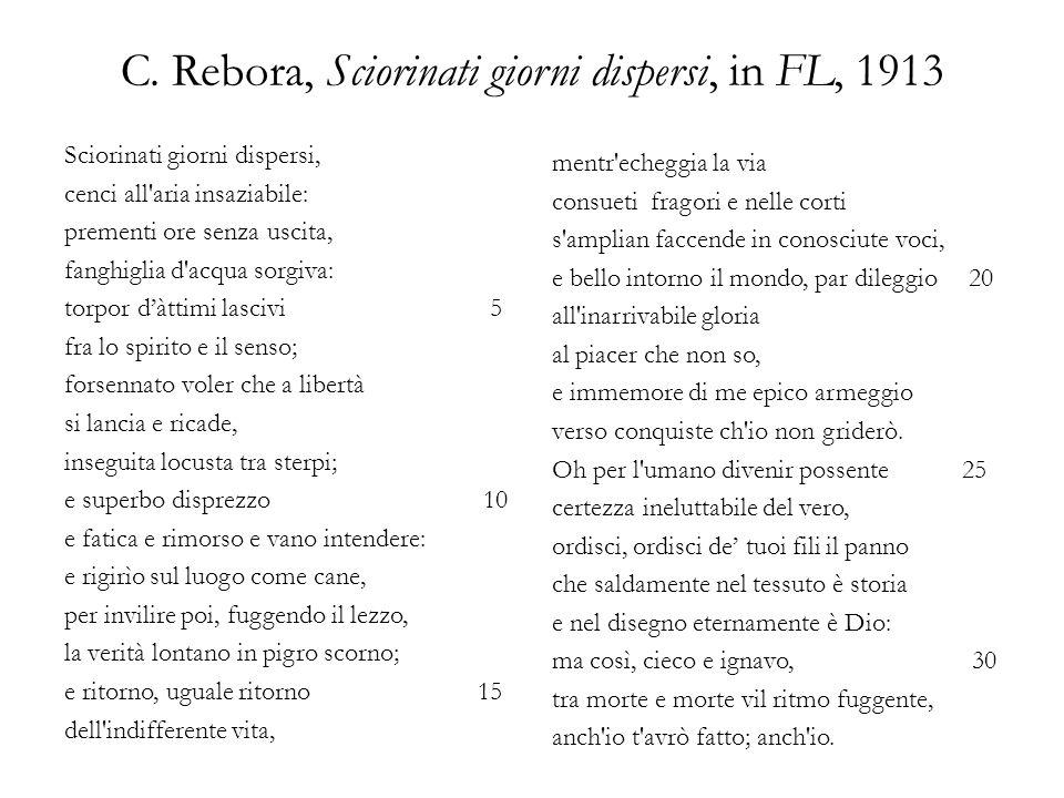 C. Rebora, Sciorinati giorni dispersi, in FL, 1913