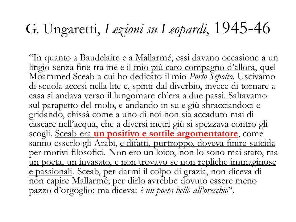 G. Ungaretti, Lezioni su Leopardi, 1945-46