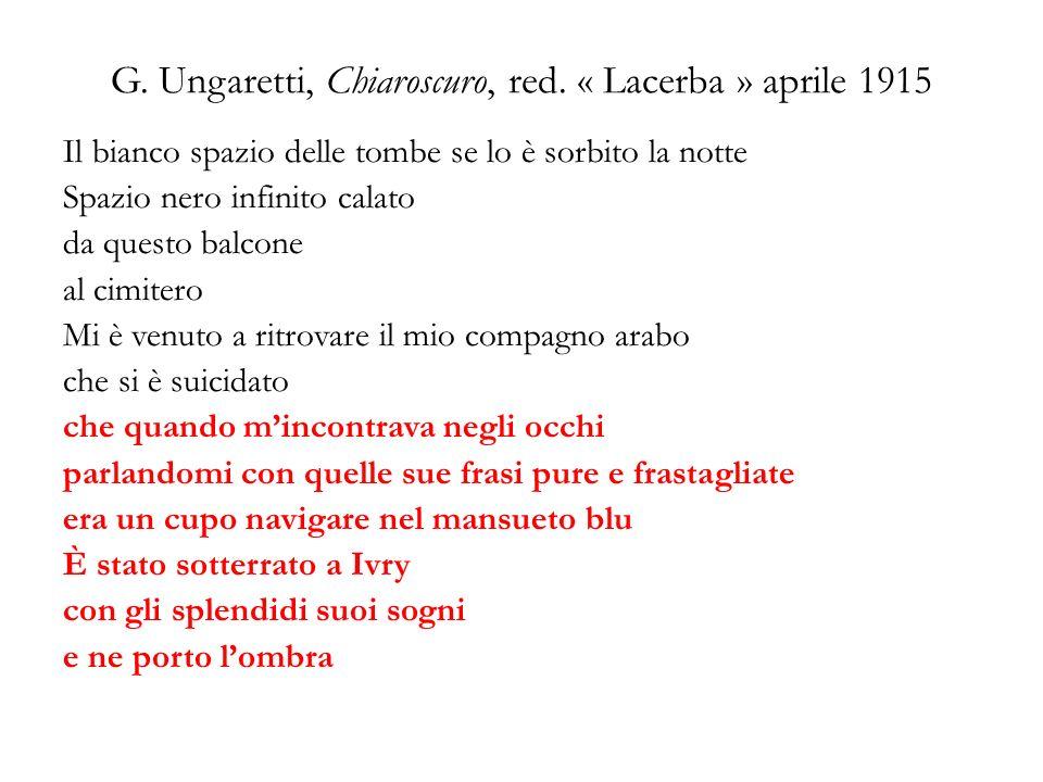 G. Ungaretti, Chiaroscuro, red. « Lacerba » aprile 1915