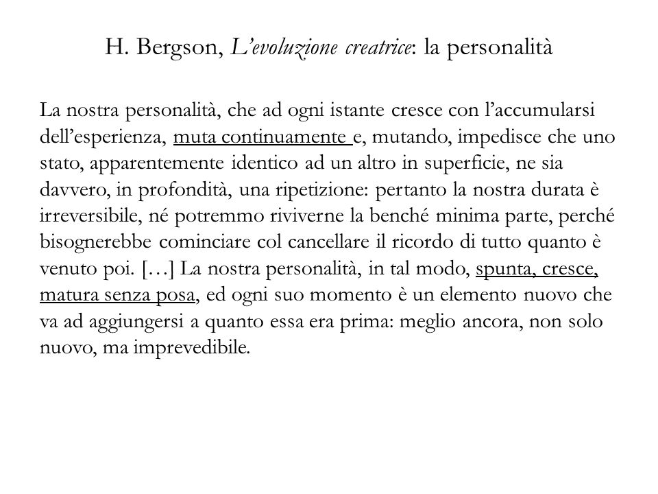 H. Bergson, L'evoluzione creatrice: la personalità