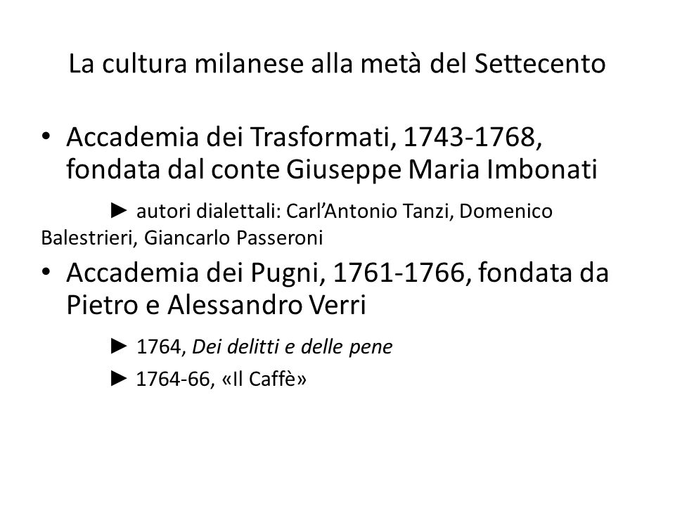 La cultura milanese alla metà del Settecento