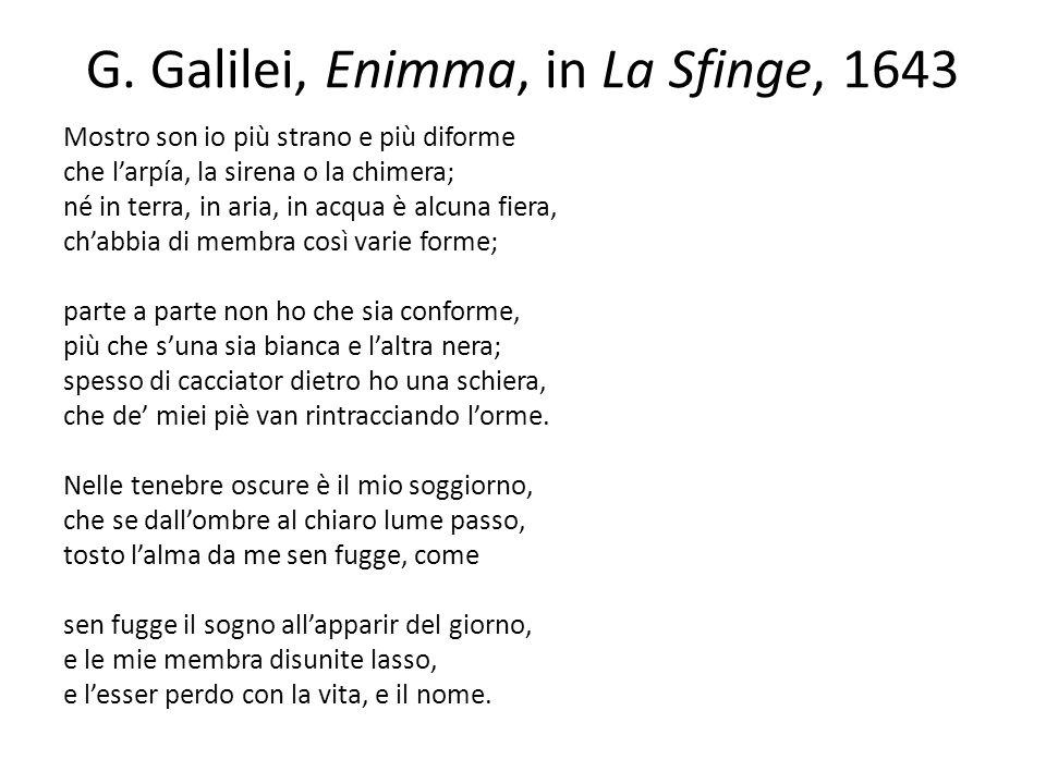 G. Galilei, Enimma, in La Sfinge, 1643