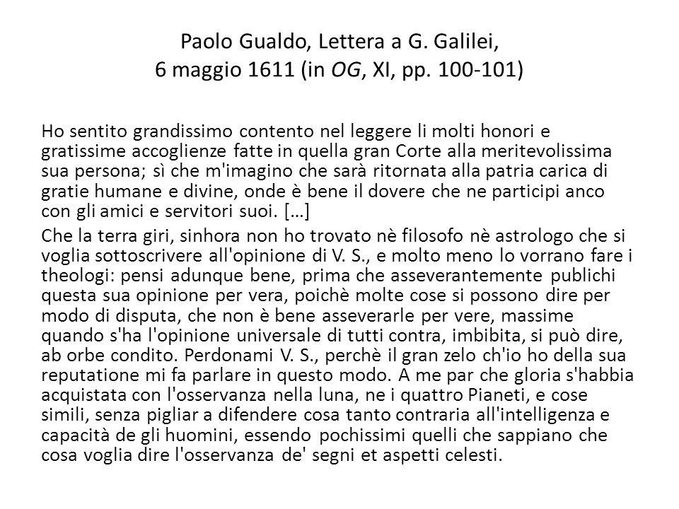 Paolo Gualdo, Lettera a G. Galilei, 6 maggio 1611 (in OG, XI, pp