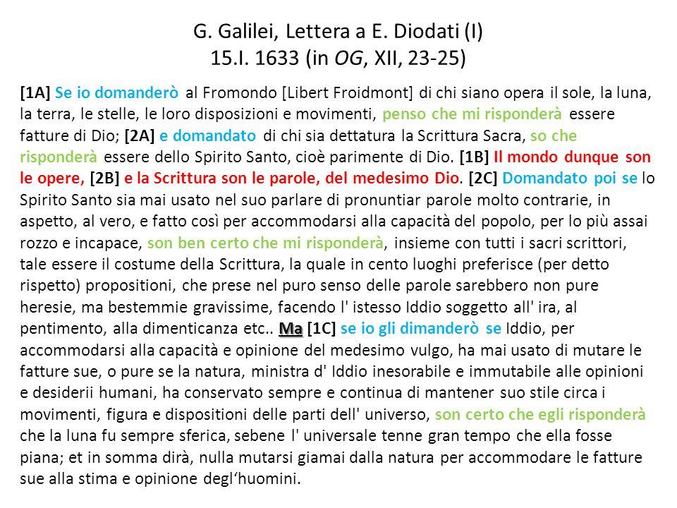 G. Galilei, Lettera a E. Diodati (I) 15.I. 1633 (in OG, XII, 23-25)