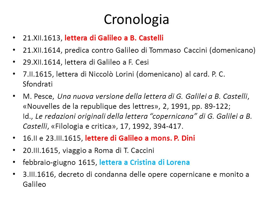 Cronologia 21.XII.1613, lettera di Galileo a B. Castelli